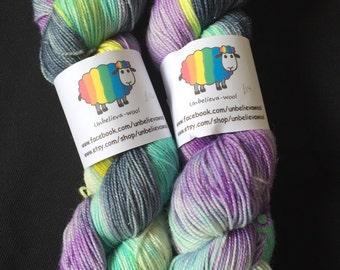 Hand dyed sparkle sock yarn