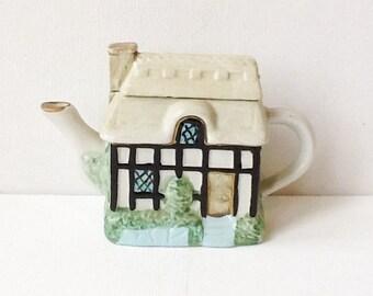 Vintage Miniature Cottage Teapot, Small Ceramic Thatched Cottage Decorative Teapot, 00887