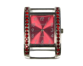 Red Watch Face, Jeweled Face, Quartz, Watch for Beaded Band