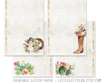 Printable Letter Paper Wild West: stationery, writing, letter, stationary, A5, instant download, LittleLeftyLou