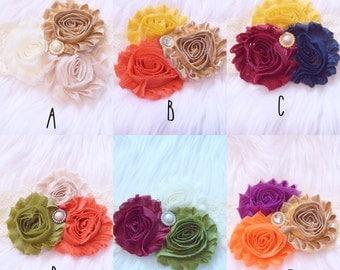 Fall headband trios. Rosette headbands. Pearl center. Custome color headband.