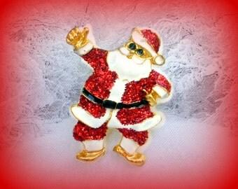 50% SALE Santa Pin..Santa Claus Pin..Santa Claus Brooch..Christmas Pin..Christmas Brooch..Saint Nicholas..Vintage Christmas Pin 90s Jewelry