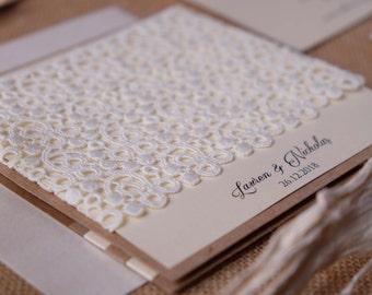 Shabby Chic Wedding Invitations, Custom Invitations, Pocket Invitations, Wedding Invitations Kit, Lace Wedding Invitations, Wedding Invites