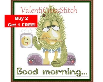 FUNNY Cross Stitch Pattern, Good morning, Cross Stitch, Pattern, Patterns, Chart,PDF, Funny