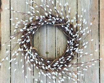 Pussy Willow Wreath, Fall Wreath, Fall Door Wreath, Wreath For Door, Door Wreath, Home Decor, Rustic Decor, Rustic Wreath, Wreath, Decor