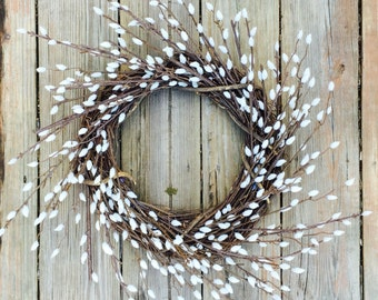 Pussy Willow Wreath, Summer Wreath, Rustic Wreath,Pussy Willow, Rustic Summer Wreath, Wreath For Door, Front Door Wreath, Home Decor