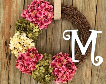 Summer Door Wreath, Letter Door Wreath, Summer Monogram Wreath, Summer Wreath, Spring Wreath, Wreath With Letter, Hydrangea