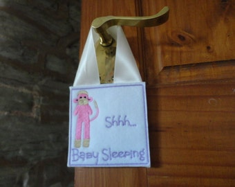 Embroidered Baby Sleeping Door Hanger with embroidered monkey