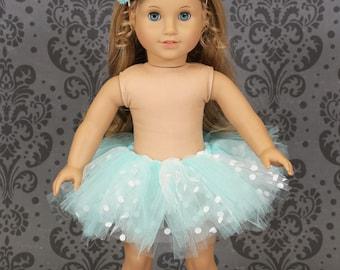 "18"" American Girl Doll Blue and White Tutu & Headband - American Girl Tutu - Doll Clothes"