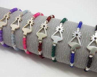 Bracelet Virgen de Covadonga. Memory of Asturias. Silver. Quartz colors
