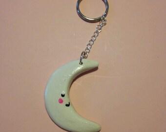 Polmer Clay Keychain - White Cresent Moon