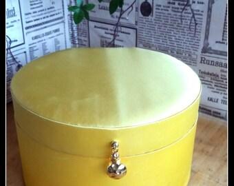 Vintage big empty Parfums Christian Dior round yellow designer box