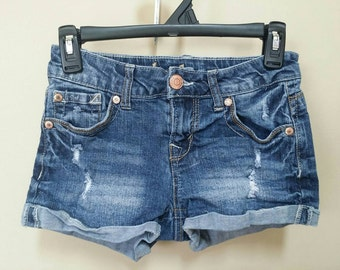 Jean destroyed shorts, Size 5 Upcylced/Altered (Waist 28 inch)  // Distressed Shorts // Size 5 Shorts // Pocket Shorts // Upcycled Shorts //