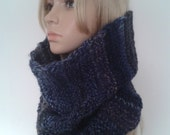 Scarf-tube wool blend, snood, infinity scarf, neck-warmer for woman hand knitted, gift idea for her.