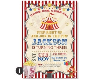 Circus Birthday Invitation. Circus Invitation, 1st 2nd 3rd 4th 5th, Vintage Circus Invite, Carnival Party Invite, Come One Come All, 372