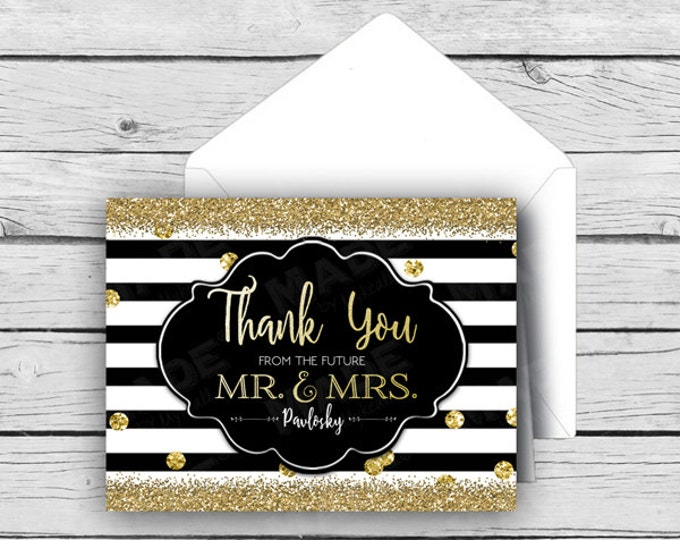Printed Glitter and Stripes - Thank You from the FUTURE Mr. & Mrs. Personalized Gold Foil Note Card Set, Wedding Note Cards, Stationery