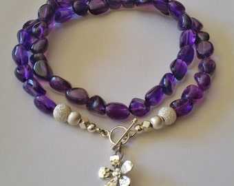 Amethyst Nugget NECKLACE with Karen Hill Tribe Sterling Silver Clasp and Charm