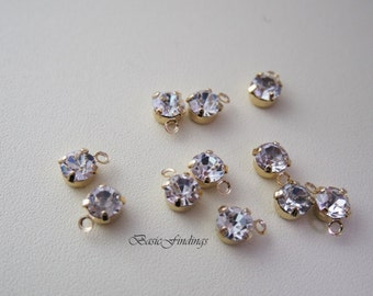 Clear Rhinestone Dangle, 5 mm, SS22, 16k Gold Plated, 4pc