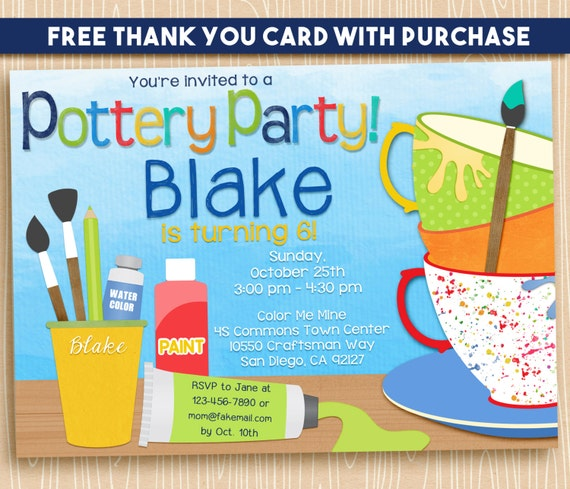 Pottery Party Ceramic Art Paint Birthday Party Invitation Printable Digital 5x7. FREE THANK YOU Card!