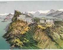 Burgenstock, Hotel Resort, Lake Lucerne.  Switzerland,  Antique 1910 Unused Color Postcard, W. Zimmermann Strassler, Luzern