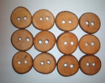"""Real Wood Buttons Pecan Wood Slice Art Set of 12  Measures 1.25""""s Across Rustic Wood Buttons Natural Cured and Sealed Buttons"""