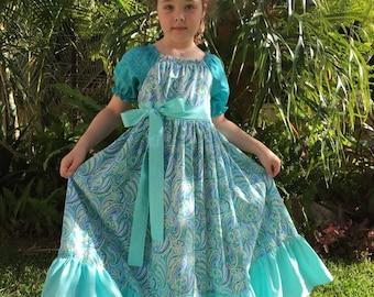 Girls Sea Foam Paisley Maxi Peasant Dress
