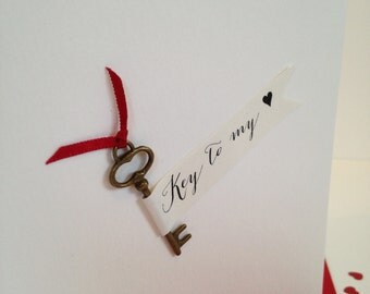 Key To My Heart, Valentines Card, Romantic Card, Anniversary Card, Love Card, Valentine's Day Card