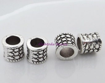 ON SALE Euro Style Column Beads 8X8Mm Antique Silver Large Hole Beads (10)