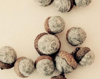 Set of 12 needle felted acorns - grey