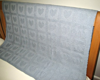 "Merino wool hand knitted Baby Blanket ""Hearts"", 80 x 90cm, Baby Blue"