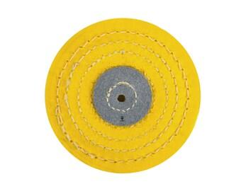 "4"" X 12 Folds Knife Edge Stitched Yellow Muslin Buffs Jewelry Polishing Tool - POL-0081"