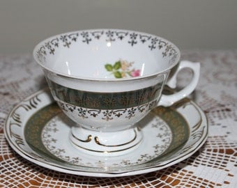 Vintage LEART Tea Cup with Roses and Luster Band Design with Gold Trim Made in Brazil