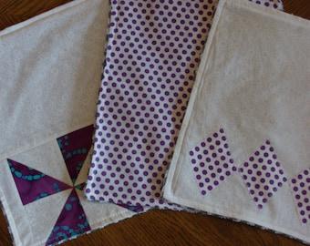 Girl burp cloths, purple, white and grey, patchwork/applique burp cloths