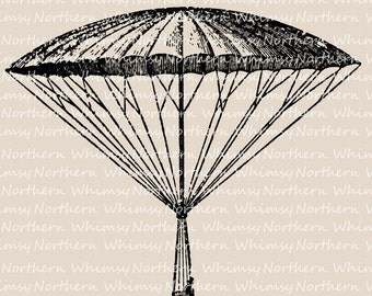 Vintage Parachute Clip Art - Victorian Parachute Illustration - Digital Stamp - Parachute Printable - history of flight - commercial use
