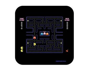 "NOVELTY Drinks Coaster ""Pac Man"" - Hardboard / Gloss Finish - Retro gaming screenshot design"