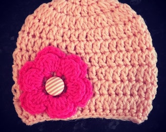 Girls Crochet Beanie with Large Crochet Flower and Button