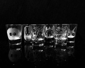 Studio Ghibli - Shot Glasses - Set of 6 -Howl's Moving Castle -My Neighbor Totoro -Spirited Away -Kiki's Delivery Service