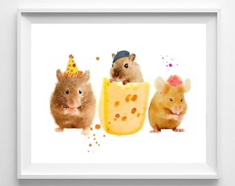 Mouse Print,from Original Watercolor Painting, Nursery Art,Childrens art, Pic No 123
