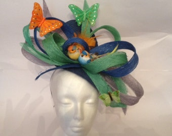 wedding green and Royal Blue and orange Hat