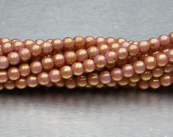 3mm Round Bead, Luster Opaque Rose Gold Topaz, Druk Bead, (P65491), 100 count