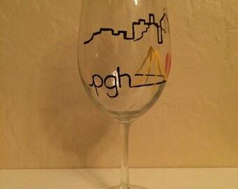 Pittsburgh skyline hand-painted wine glass