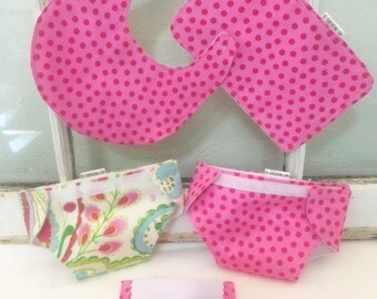 Doll 2 Diapers and Wipes Set, doll bib & burp Mini Mommy Big Sister, pink chevron, AG Bitty Baby Kumari Garden Pink Polka Dot Ready to Ship!