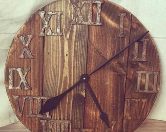 """24"""" Dark Walnut Stained/Roman Numeral Reclaimed Wood Clock - FREE SHIPPING"""