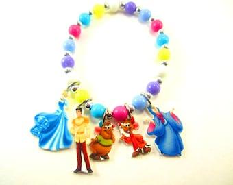 Cinderella Charm Bracelet, Cinderella Jewelry, Cinderella Birthday, Cinderella Necklace, Cinderella Party Favors