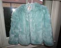 Pale Blue Faux Fur Jacket