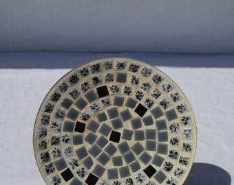 Mid Century Modern mosaic dish in gray, black, and white