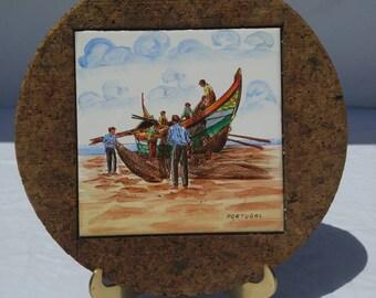 Vibrant handpainted tile souvenir trivet, Portugal