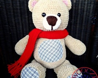 Bear with a red scarf Crochet Amigurumi