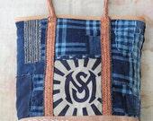 SALE!! Japanese kasuri & sakabukuro boro tote bag