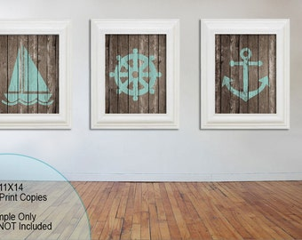 Nautical Art - Nautical Decor - Nautical Nursery - Beach House Decor - Sailboat - Ship Wheel - Anchor - 11x14